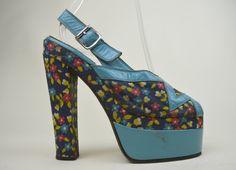 dff318c10c33 60s 70s Original Rare Boho Hippie Turquoise Leather Ditsy Floral Print  Slingback Zig Zag Peep Toe Platform Sandals UK 3   US 5.5   EU 36