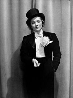 Actress Marlene Dietrich Wearing Tuxedo Top Hat Corsage and Holding Cigarette Foreign Press Ball by Alfred Eisenstaedt
