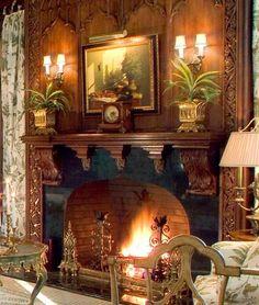 ** Gothic fireplace in family room /  Goldthorpe & Edwards Ltd., Philadelphia, PA  19106