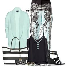 Black and Mint by honkytonkdancer on Polyvore featuring Burberry, H&M, Roberto Cavalli, Dune, Michael Kors, Betsey Johnson, Shabana Khan, White House Black Market, Yves Saint Laurent and springfashion