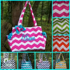 Pink Orange Purple Teal Turquoise Black Lime Gray Chevron Diaper Bag Tote Book Bag Monogrammed / Embroidered on Etsy, $34.00