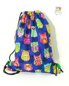 (Drawstring Bag) Chevron Hoots