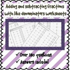 Adding and subtracting fractions with like denominators worksheets No frills worksheets useful for students that need practise. Could be used for homework or classwork. ★ worksheets on adding fractions with the same denominator. Adding And Subtracting Fractions, 20 Questions, Mathematics, Homework, Worksheets, Students, Ads, Teaching Ideas, Number