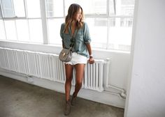 oversized button-up, short shorts, ankle boots