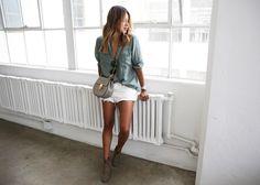 white denim shorts + shirt + dicker boots + chloe drew