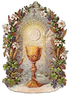 The Most Holy Eucharist: The Body Blood Soul and Divinity of Christ poured out as a true unbloody sacrifice for the salvation of souls; Blessed are those called to the supper of the Lamb! Religious Pictures, Jesus Pictures, Christian Images, Christian Art, Catholic Art, Religious Art, Vintage Holy Cards, Jesus Christ Images, First Holy Communion