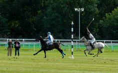 Polo players at the Roodee Challenge Polo Weekend, Chester
