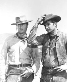 "Clint Eastwood, left, and Eric Fleming in the TV program ""Rawhide,"" 1959-65."