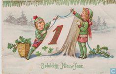 Ansichtkaart - Noord-Holland - Gelukkig Nieuwjaar - Twee kinderen en kalender