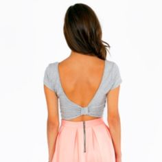 """Gray Crop top with a Bow Back 94% rayon, Heather Gray color, 4"""" sleves, 13"""" crop top length Tobi Tops Crop Tops"""