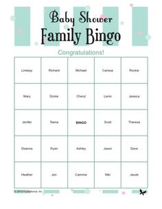 Baby Shower Family Bingo