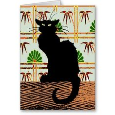 Black Cat on Japanese Wall Paper Greeting Card