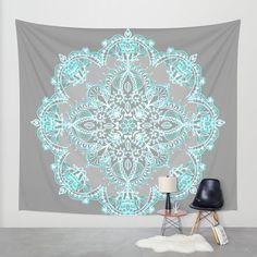 Teal and Aqua Lace Mandala on Grey Wall Tapestry by Micklyn | Society6