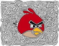 The Angry Birds is a puzzle video game. Angry Birds mobile game is developed by Rovio Entertainment. Red Angry Bird, Angry Birds, Maze Drawing, Maze Worksheet, Worksheets, Bird Birthday Parties, Bird Mobile, Bird Free, Bird Pictures