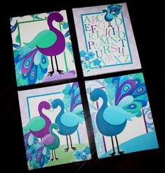 Set of 4 Purple and Turquoise Peacock Bedroom 8x10 Stretched Canvases Kids Playroom Baby Nursery CANVAS Bedroom Wall Art