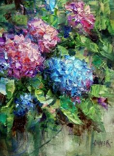 """California Hydrangeas"" - Original Fine Art for Sale - © Julie Ford Oliver"