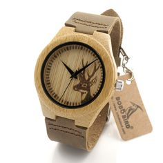 2016 Deer Head Design Mens Women's Size Bamboo Wooden Watches Luxury Wooden Quartz Watches With Brown Leather Strap Like and Share if you agree!  #shop #beauty #Woman's fashion #Products #Watch