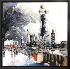 30″ x 30″, Resined mixed media on aluminium.   In this piece, Paul captures a moment overlooking Westminster on a rainy day. Paul allows the paint to blend into one another and puddle on the surface of the aluminium, creating a painting that is alive with motion and fluidity, suggesting the ever-changing state of British weather. Paul also leaves areas of aluminium unpainted to echo the reflections you would see after rainfall.