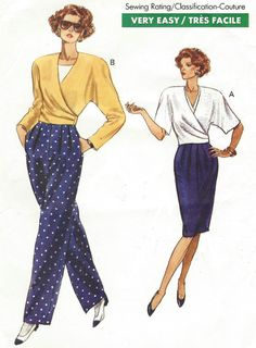90s Very Easy Very Vogue Sewing Pattern 7760 Womens by CloesCloset