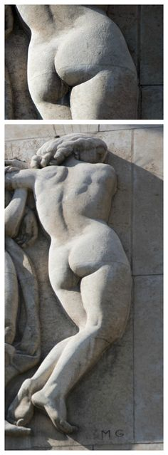 April 2016 - Fesses of the Month - This month's fanny is displayed on the façade of the Palais de Tokyo in the 16th arrondissement.  Realized by Marcel Gaumont in 1937, it  belongs to one of the three nymphs of a sculpted group and is the only one turned to give passersby a full view of its admirable form.  http://q25749.questionwritertracker.com/J39AYNTP/
