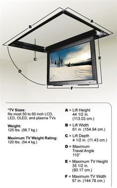 Motorized Drop Down Ceiling TV Bracket the lift can specifically accommodate TVs up to 47 inches wide by 28 inches high (outside dimensions). Tv Ceiling Mount, Ceiling Tv, Tv Hanging From Ceiling, Drop Down Ceiling, Tv Escondida, Salas Home Theater, Kombi Trailer, Motorized Tv Lift, Wall Mount Tv Stand