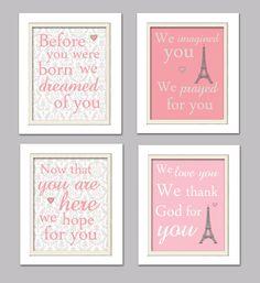 Nursery Quad Pink and Grey Nursery Eiffel tower by ChicWallArt, $37.00
