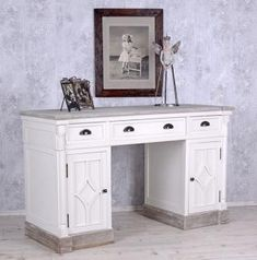 Desk in Country House Style White Office Table Computer for sale online Computers For Sale, White Office, White Desks, Office Table, Country Style Homes, Shabby Chic, Entryway Tables, Home And Garden, Cabinet