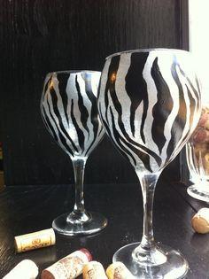 Set of 2 Hand Painted Zebra Animal Print Wine Glasses on Etsy, $27.08 AUD