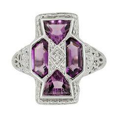 Art Deco Filigree Happy Family 4 Stone Amethyst and Diamond Filigree Ring in 14 Karat White Gold
