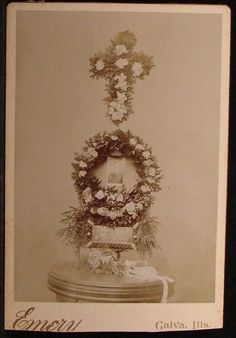 Cabinet Photo Funeral Flowers Memorial Display by Emery Galva Illinois | eBay