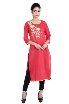 fbdb11e08f9 Extra Off Coupon So Cheap Women Indian Casual Formal Wear Kurta Kurti  Printed Red Cotton Dress Tunic