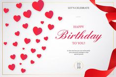 Romantic happy birthday invitation with red ribbons Free Vector Birthday Card Template, Banner Template, Birthday Invitations, Birthday Cards, Valentines Day Background, Happy Valentines Day, Circle Infographic, Paper Pop, Happy Birthday