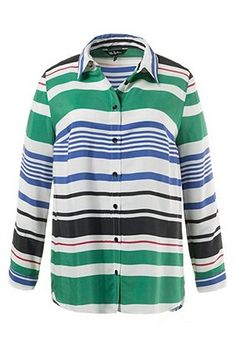 """Colorful Stripe Blouse# shirt collar, button front and long sleeves with adjustable button cuffs. Curved hem which is approx. 3¼"""" longer at the back. Back yoke with center box pleat. <br />"""