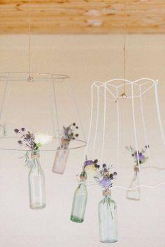 Vintage wedding decor - hanging bottles from lampshades Mod Wedding, Floral Wedding, Summer Wedding, Rustic Wedding, Wedding Ceremony, Wedding Shot, Lamp Shade Frame, Country Garden Weddings, Flower Chandelier