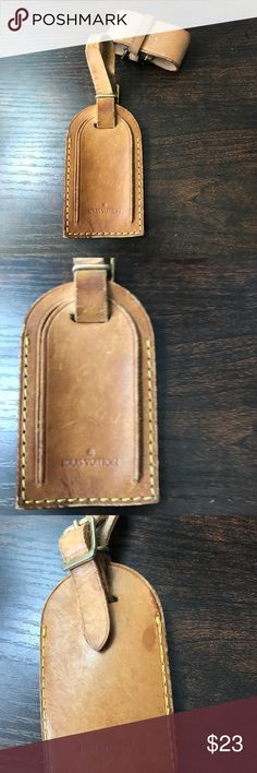 AUTHENTIC Louis Vuitton luggage tag with Poignet Well worn luggage tag and Poignet  Leather is dark, has marks and discoloration. Would be a perfect candidate to dye or paint. Shipping same or next day. Louis Vuitton Accessories