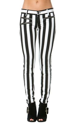 Stripped Zipper Pocket Skinny Jeans in Black and White