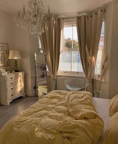 Curtains, Stylish, Interior, House, Bedroom Yellow, Beautiful, Design, Home Decor, Rooms