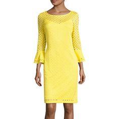 jcpenney.com | Studio 1® 3/4-Sleeve Eyelet Lace Sheath Dress