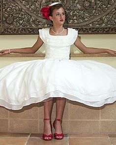 I love this!! The pleated square neck, wide waist and flowing skirts(modest couture by elizabeth)