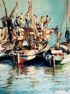 Barcos de pescadores by Joaquim Canotilho Painter