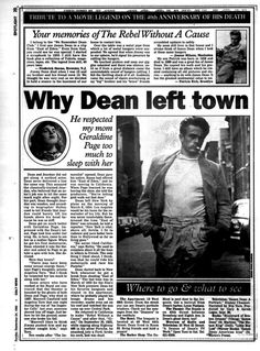 James Dean's New York: How the city shaped the rebel James Dean Life, Geraldine Page, James Dean Photos, Newspaper Front Pages, Rebel Without A Cause, East Of Eden, New York Daily News, Norma Jean, The Little Prince