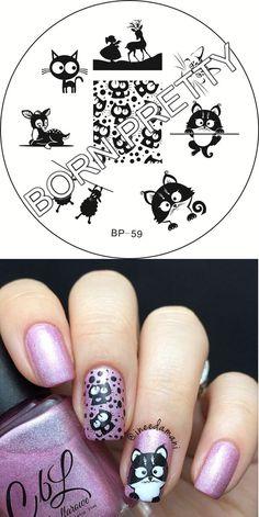 $1.79 Cat Deer Sheep Nail Art Stamping Template Image Plate BORN PRETTY BP59 - BornPrettyStore.com
