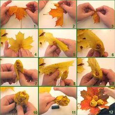 how to make roses out of maple leaves - folding tutorial