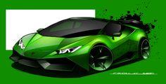 Lamborghini huracan sketch with sketchbook proo