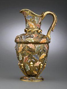 Rare Moser amber glass jug, c. 1880.