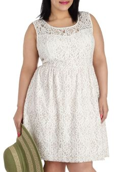 Dainty Dally Dress in Ivory - Plus Size - White, Solid, Lace, Party, A-line, Tank top (2 thick straps), Scoop, Wedding, Bride