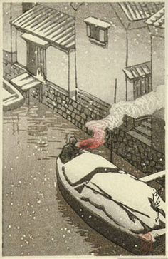 Artist: Hasui Kawase Title: Snow at Kashi Size: x inches Publisher: Watanabe, Late printing from the original blocks Japanese Art Prints, Japanese Colors, Japanese Artwork, Japanese Painting, Japanese Landscape, Landscape Art, Ligne Claire, Japanese Illustration, Postcard Printing