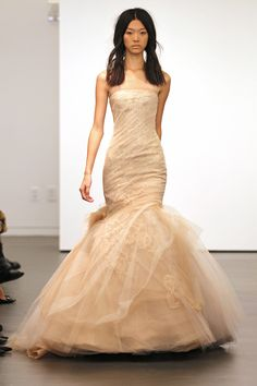 .Organza and tulle mermaid gown with hand-pieced Chantilly lace appliqué and eyelash flange skirt