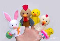 Digital Pattern: Dogs Felt Finger Puppets by FloralBlossom on Etsy Felt Puppets, Felt Finger Puppets, Felt Crafts, Easter Crafts, Easter Decor, Finger Puppet Patterns, Felt Kids, Felt Patterns, Pdf Patterns