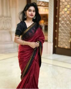 Image may contain: 1 person, standing Trendy Sarees, Stylish Sarees, Indian Beauty Saree, Indian Sarees, Ethnic Sarees, Cotton Saree Blouse Designs, Kurta Designs, Saree Poses, Bridal Silk Saree